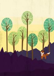 landscape fox nature tree green purple