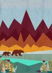 nature wildlife landscape illustration bear