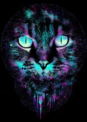 cat unique modern dream dreamcatcher eyes iris neon colors abstract