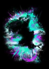 bird eagle space abstract constellation neon colors animal unique