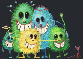families monsters color portrait funny cat illustration
