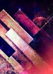 space dark diagonal planet pink orange depth