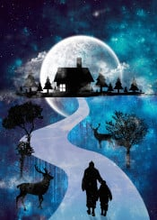 home christmas new year 2015 holiday winter snow deer tree space moon surreal path road sky clouds