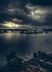 beautiful blue boat calm calmness cloud doc escape fishing fog foggy horizon jetty lake landscape le