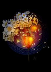 sakura simplicity falling floating lamps light