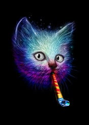 whistle cat toy party colour animals illustration funny humor eyes cute nicebleed displate metal psy
