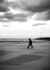 man black white sea winter cloud italy