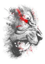 lion king wild animal jungle blood roar tooth mad unique illustration splatter