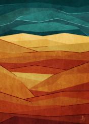 dverissimo abstract pattern wasteland barren desert warm sand dunes hot sky illustration