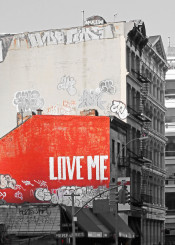 nyc new york city soho love me red urban street vertical brick gray grey valentine valentines day