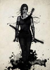 female ninja samurai warrior girl power powerful sword katana japan spatter watercolor
