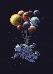 space humor stars astronaut carbine balloon