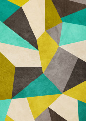 dverissimo green yellow polygons beige brown shapes pattern abstract 30
