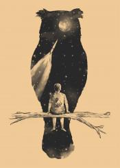 owl night sky space moon spaceship dream kid branches nature stars animal