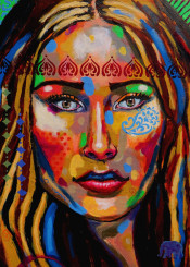 woman bohemian whimsical colorful portrait expressionism impressionism