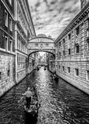 venice ponte sospiri black white italy landscape historical water beautiful