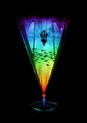 bridge rainbow surreal fish swing man zipper