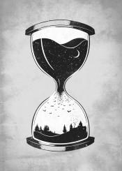 night space stars concept bats hourglass moon minimal time black