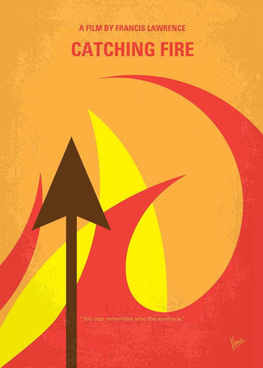 No175 - 2 My CATCHING FIRE - The Hunger Games minimal movie poster Katni