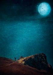 surreal mood ocean moon atmosphere rock blue silhouette solitude waves night
