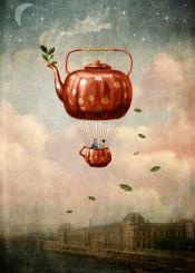 love tea fly whimsical surreal dusk
