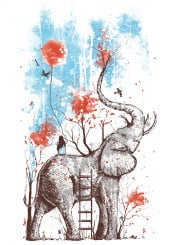 happy nature elephant wild ladder balloon sun fall autumn tree leaves branches girl birds clouds sky