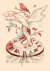 hands time life death clock sky clouds birds nature branches leaves