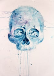 skull life death time watercolor blue red