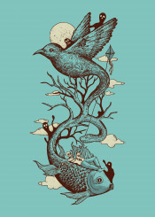 dream nightmare nature landscape birds clouds sky sun moon snake fish branches trees kite
