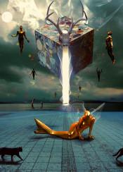 reincarnate mermaid gold energy lights cat surreal landscape fly skull animals clouds sky geometric
