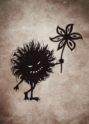 evil character bug vintage texture flower funny cute creature