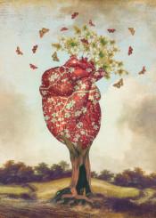 love tree heart butterfly surreal dream fantasy