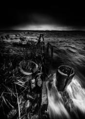 fine art fine dark black boat white scene water fishing sea sky landscape loneliness old nature fog