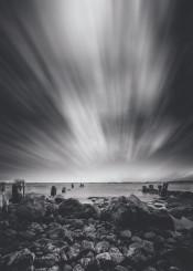 atlantic beach black boulder cloud cloudscape coast coastline destination europe exposure fog horizo