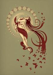 women butterfly moon stars blood opera music