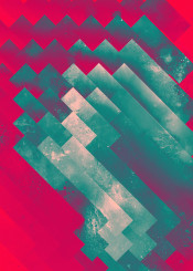 teal red texture geometric abstract geometry slabs diagonal tritone