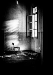 asylum urbex abandoned black white chair window light shadows