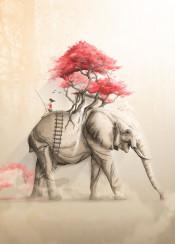 revenge nature forest tree flowers wild elephant riding animal fishing fantasy