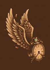 girl clock wings fly reading book