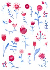 hayfever flowers floral pink blue turquoise watercolor watercolour painting painted