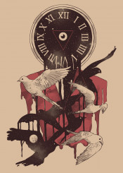 life clock time death space birds stars moon eye surreal red existence