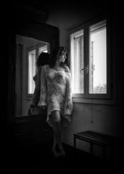 glamour black white woman girl sensual mood window home