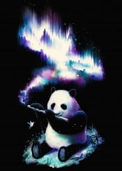 panda music flute bamboo universe space galaxy bird humming