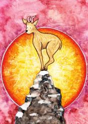 goat sheep lamb animal mountain hill sun sunset sunrise sky landscape china chinese year purple red