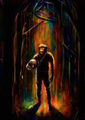 cnimpanzee monkey digital paint astronaut