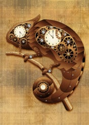 chameleon steampunk vintage copper toy mechanical clocks gears animal technology chains