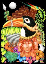 aztec totem indios precolombian toucan fantasy parrot surreal painting portraits symbolism