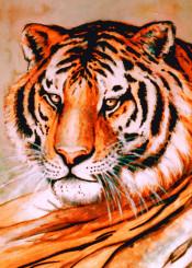tiger watercolor wildlife feline bigcat exotic painting portrait fur power strength beauty nature