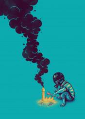 kid sand castle smoke pollution