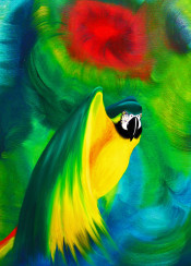 macaw parrot exotic animal wild bird oil painting flight abstract tropical nature wildlife brush